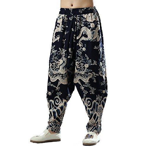 Men's Hippie Drop Crotch Cotton Linen Jogger Pants with Dragon Print Elastic Waist (M) by LZJN