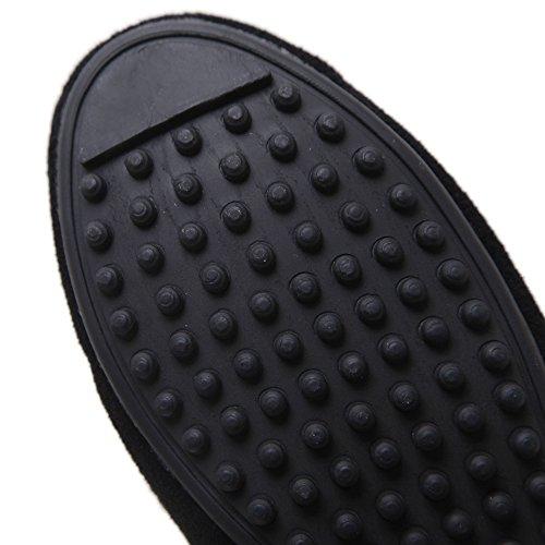 Makegsi Winter Kasjmier Beanie Schoen Metalen Knop Stail Bal Platte Vrouwen Schoenen Pluizige Warme Schoenen Zwart