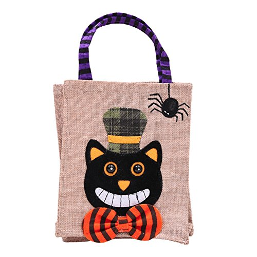 EFINNY Halloween Trick Or Treat Tote Bags Candy Buckets Baskets for Kids Witch Pumpkin Cat Patte Felt Bags