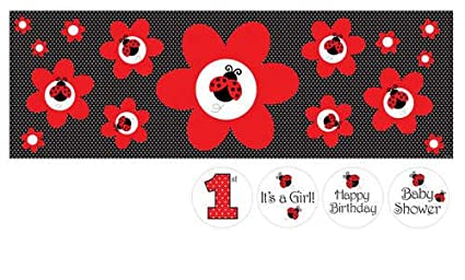 amazon com giant party banner with stickers ladybug fancy