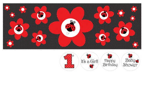 Giant Party Banner with Stickers, Ladybug Fancy