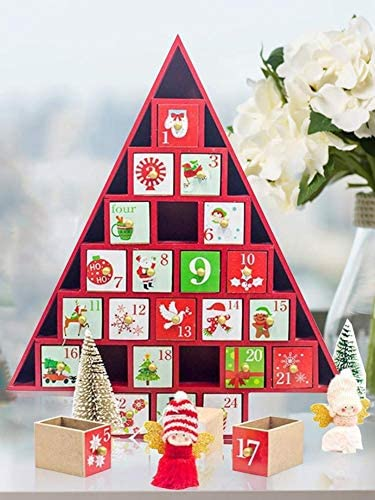 [해외]DaJun Christmas Wooden Countdown Calendar - Christmas Small House Decorations Countdown Calendar Box Gift Ornaments for Kids Children / DaJun Christmas Wooden Countdown Calendar - Christmas Small House Decorations Countdown Calenda...