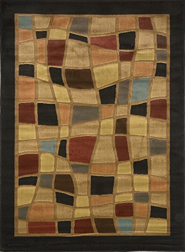 Modern Multi-Color Stone Art Area Rug 4x6 Abstract Carpet - Actual Size 3' 3