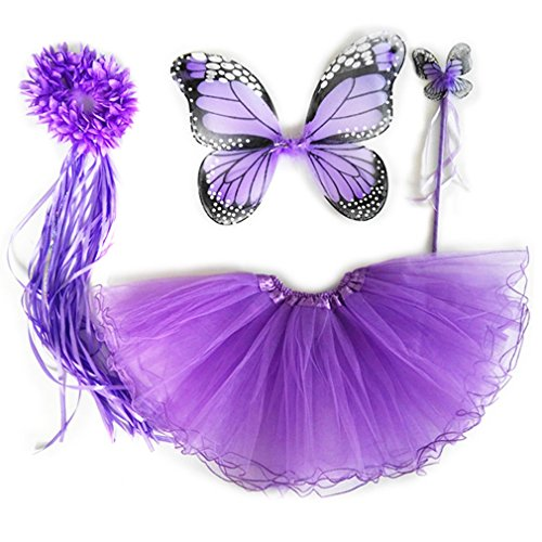 [4 PC Girls Fairy Princess Costume Set with Wings, Tutu, Wand & Halo (Light Purple)] (Purple Butterfly Wings Costumes)