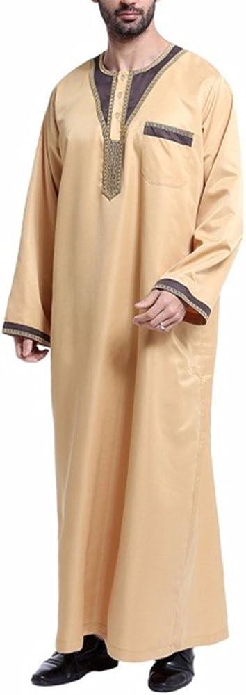 zhxinashu Desgaste Musulmán árabe de los Hombres del Tamaño Grande, Camisa India Elegante de Abaya, Amarillento, S: Amazon.es: Ropa y accesorios