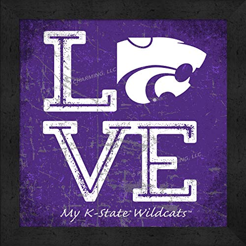 Prints Charming College Love My Team Logo Square Color Kansas State Wildcats Framed Posters 13x13 Inches ()