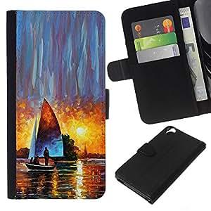 KingStore / Leather Etui en cuir / HTC Desire 820 / Sunset Aquarelle Art Sun