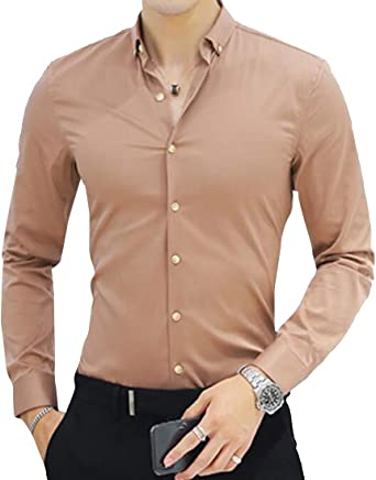 YYG Camisa de Manga Larga con Cuello de Solapa y Botones para ...