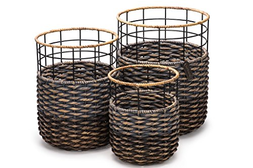 Set of 3 Strong Stylish Round Handmade Accent Storage Bins Baskets- Organic Hyacinth- Luxury Woven Decor for Bedrooms, Bathrooms, Pool Side, Kids Room- Ideal for Towels, Laundry, Toys