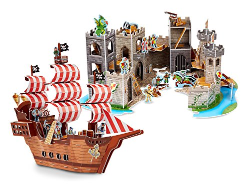 Melissa & Doug 3-D Puzzle Kits Set: Pirate Ship and Medieval (Girls Pirate Ship)