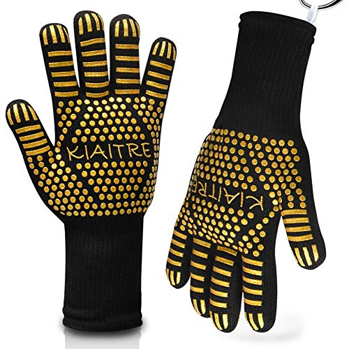 Kiaitre Grill Gloves Extreme Heat Resistant - BBQ Grilling Gloves Silicone Non-Slip Oven Gloves for Cooking Barbecue Baking