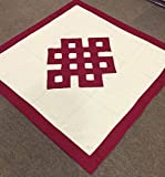 Tibetan pure cotton maroon endless knot table / altar cloth / shrine cover (White with Maroon)
