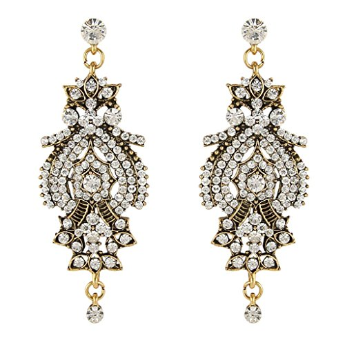 BriLove Women's Vintage Inspired Crystal Floral Chandelier Pierced Dangle Earrings Antique Gold-Tone (Vintage Inspired Earrings)