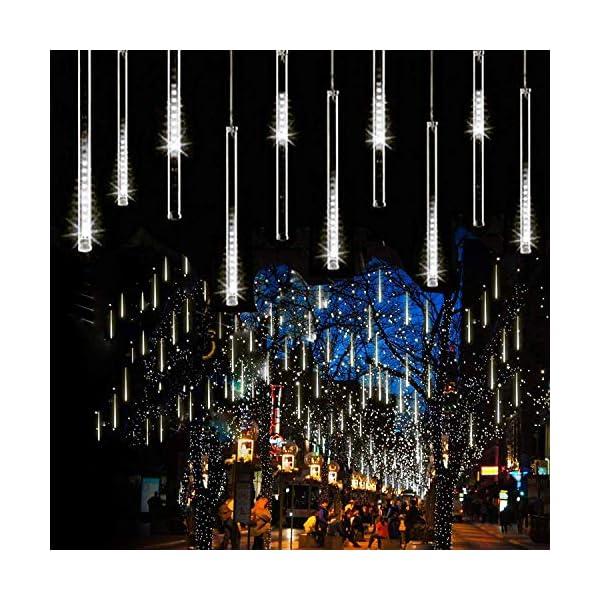 EEIEER 8 tubo 192 mini LED Meteor Luci Natale con EU Spina, IP65 Impermeabili Meteor Shower Light Luci Natalizie per Esterni Giardino Festa di Nozze (Bianco freddo-30CM) 6 spesavip