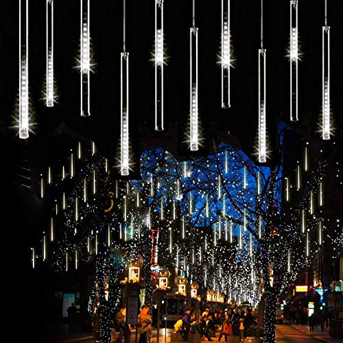 Syka Falling Rain Lights White, Meteor Shower Lights with 11.8 inch 8 Tubes 144 LEDs Rain Drop Lights, Outdoor Icicle Snow Cascading Christmas String Lights for Tree Holiday Wedding Party Thanksgiving