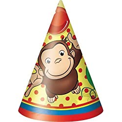 Curious George Cone Hats - Birthday and Theme Party Supplies - 8 Per Pack