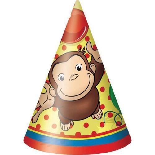 (Curious George Cone Hats - Birthday and Theme Party Supplies - 8 Per)