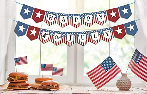 Dazonge Forth of July Patriotic Decorations - Stars and Stripes Happy 4th of July Banner - Memorial Day/Independence Day Decorations]()