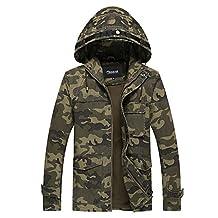 Zicac Men's Autumn Winter Zip-Front Hooded Jacket Coat
