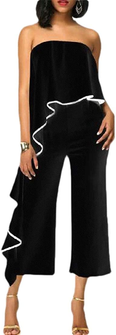 CBTLVSN Women Ruffle Hem Off Shoulder Sleeveless Wide Leg Pants Jumpsuit