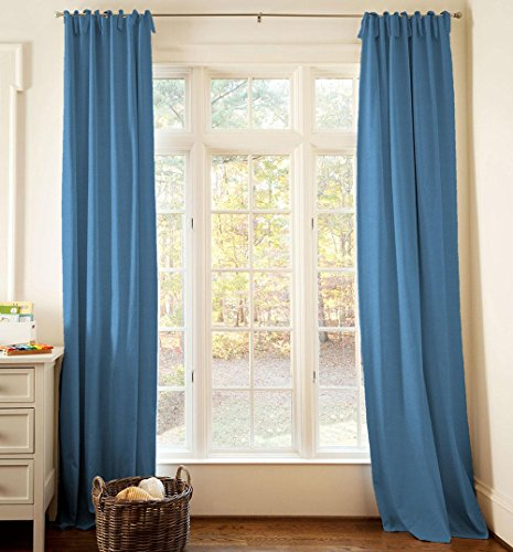 Carousel Designs Solid Denim Blue Drape Panel 96-Inch Length Standard Lining 42-Inch Width by Carousel Designs