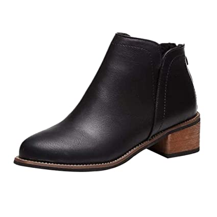ad537910992e4 Sunshinehomely Women Fashion Rivets Boot Shoes Leather Flat Ankle Boots  Martin Boots Short Plush (Black