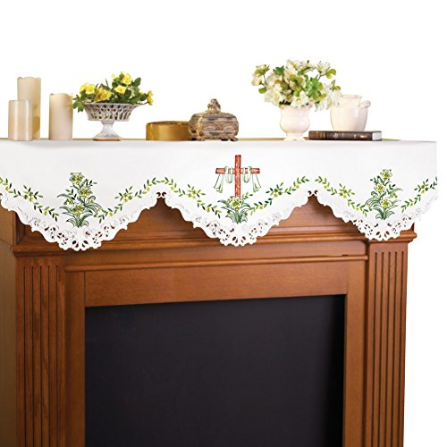 Embroidered Cross Easter Mantel Scarf
