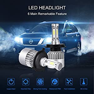 Catinbow H4 (9003, HB2) LED Headlight Bulbs Hi /Lo Beam 7200LM Super Bright COB LED Headlight Bulbs Conversion Kit Plug & Play Automotive Headlamp Bulb 6000K Cool White (2 Pack)
