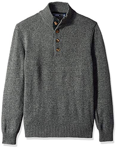 (IZOD Men's Buttoned Mock Neck Solid 7 Gauge Sweater, Black, Medium )
