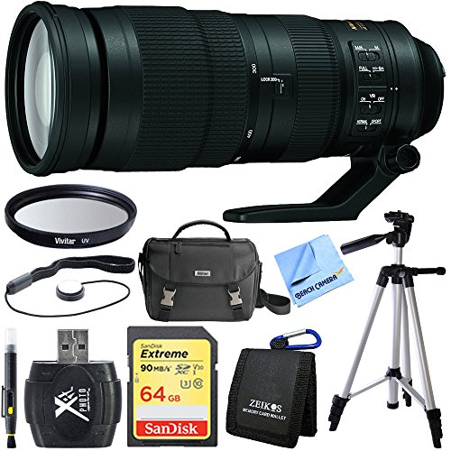 Beach Camera Nikon 200-500mm f/5.6E ED VR AF-S NIKKOR Zoom Lens for DSLR Camera Bundle includes 200-500mm NIKKOR Zoom Lens, Tripod, 64GB SDXC Memory Card, 95mm UV Filter, Deluxe Bag, Cloth and More! by Beach Camera