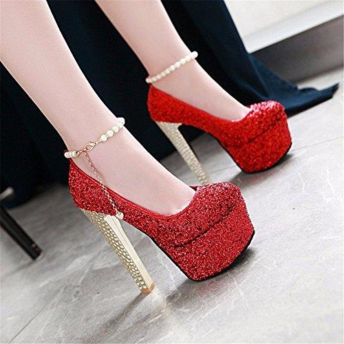 Boucle Chaussures De Pailleté D'haut La eu47 Forme 15cm Plate Robe golden Étanches Catwalk qBxX6
