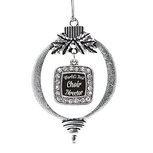 Inspired Silver - World's Best Choir Director Charm Ornament - Silver Square Charm Holiday Ornaments with Cubic Zirconia ()