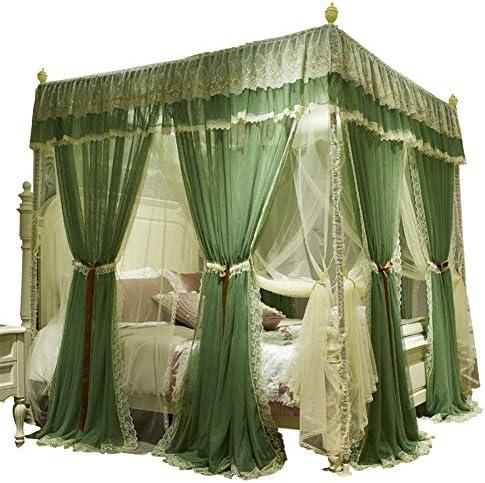 4コーナーポストキャノピーベッドカーテン,プリンセスレースベッドキャノピー 高級 二重層 ベッドの装飾のための蚊のネット-a