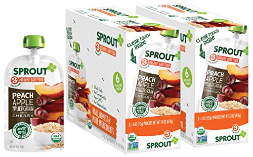 Sprout Organic Baby Food Pouches Stage 3 Sprout Baby Food, Peach Apple Multigrain with Cherry, 4 Ounce (Pack of 12); USDA Organic, Non-GMO, Made with Whole Foods, No Added Sugar