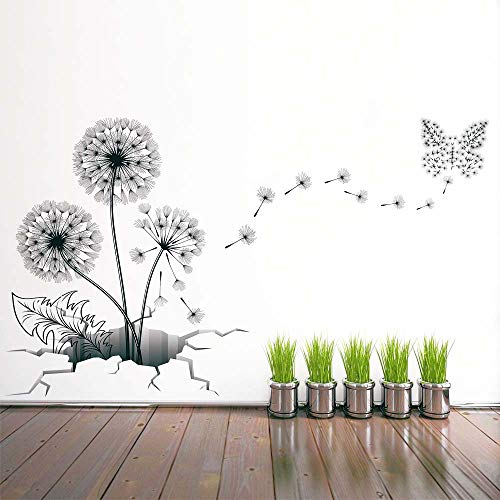 Dandelion Wall Decal, H2MTOOL Removable Peel and Stick Art Wall Stickers for Kids Room Decor (Dandelion)