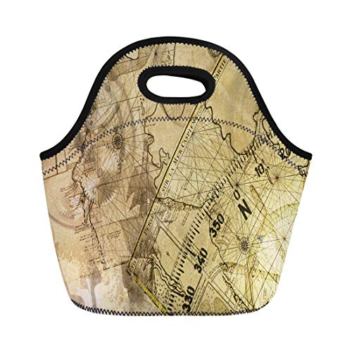 Semtomn Lunch Bags Wheel Old Ancient Nivigation Ships Maps Instrument Pirate Sail Neoprene Lunch Bag Lunchbox Tote Bag Portable Picnic Bag Cooler Bag