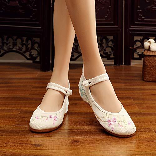 Sandales Pour Femme Bowknot Broderie Chaussures Bozevon Vintage Style3 Plates qZRw44f
