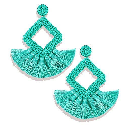 FANJURNEY Beaded Statement Tassel Earrings,Handmade Earring, Bohemian Dangle Fringe Earrings for Women, Idea Gift for Sister, Wife and Friend (Green)