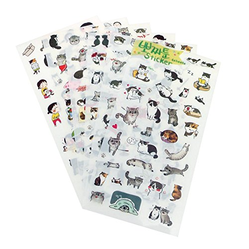 GogoForward 6 sheets/set Portable Cute Cat Album Diary Calendar Sticker Label Scrapbooking Craft - 6 Sheet Calendar