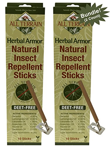 All Terrain DEET-Free Herbal Armor Insect Repellent Sticks (Pack of 2), 2 Pack, A More Natural Scent and Formula Than Citronella Candles, Non-Toxic, Great for Spending Time - Repellent Herbal Mosquito