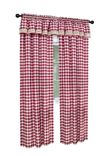 Achim Home Furnishings Buffalo Check Valance, 58-Inch by 14-Inch, Burgundy