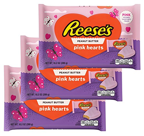 Reeses Peanut Butter Pink Hearts Shaped Valentine's Day Candy Gifts Chocolate Multi Pack Snack Candies For School Work Exchange Boys or Girls - Size 10.2 Ounces