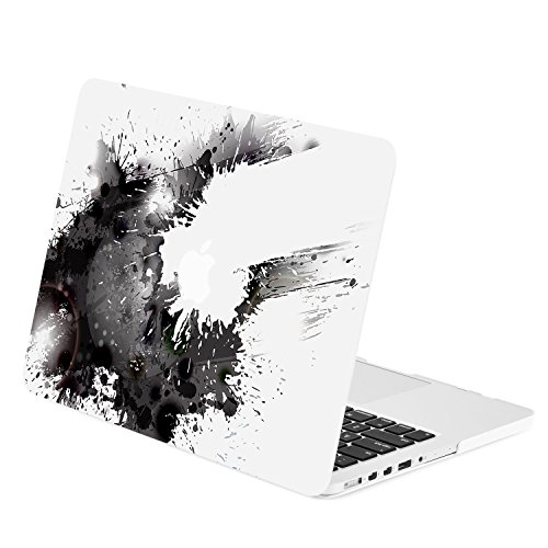 TOP CASE - Black Paint Splash Graphics Rubberized Hard Case Cover Compatible with Apple MacBook Pro 15 with Retina Display (Release 2012-2015) Model: A1398