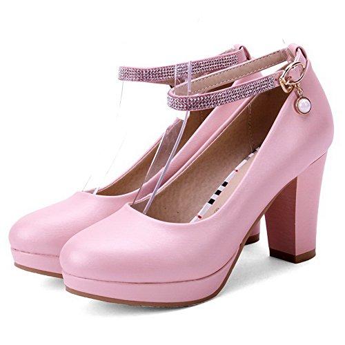 AllhqFashion Damen PU Leder Hoher Absatz Rein Rund Zehe Schnalle Pumps Schuhe Pink
