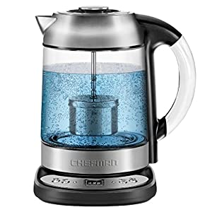 Chefman Electric Glass Digital Tea Kettle with FREE Tea Infuser, Built-In Precision Temperature Control Panel Base & Keep Warm Function, 1.7 Liter/1.8 Quart - RJ11-17-SPG