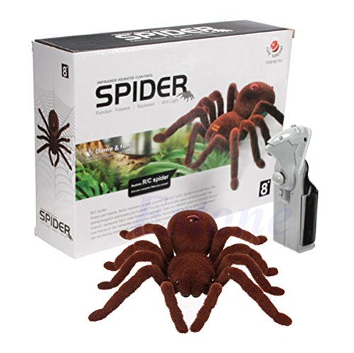 Stebcece Remote Control Scary Creepy Soft Plush Spider Infrared RC Tarantula Toy Kid Gift