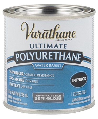 Rust-Oleum Varathane 200161H 1/2-Pint Interior Crystal Clear Water-Based Polyurethane, Water-Based Semi-Gloss Finish (Varathane Water)