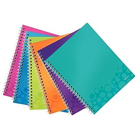 Leitz Wow-Quaderno, motivo:  Get Organized a Spirale, 160 pagine, a righe, A4 (21 X 297 cm) A4 Assortiti effetto metallizzato, 1 Confezione da 6 pezzi 46420099