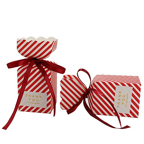 (SOMADE Candy Boxes Red Stripe Candy Gift Box Vase Shape Small Party Favor Box with Ribbons Sticker for Wedding,Bridal Shower,Birthday,Baby Shower,Holiday Celebration Party Decorations Supplies,50pcs)