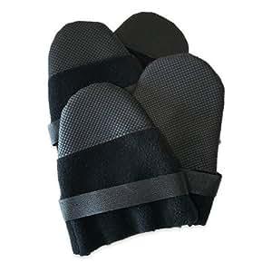 Muttluks Hott Doggers Lightweight Fleece 3.25-Inch to 3.75-Inch Dog Boots, Medium, Black, Set of 4